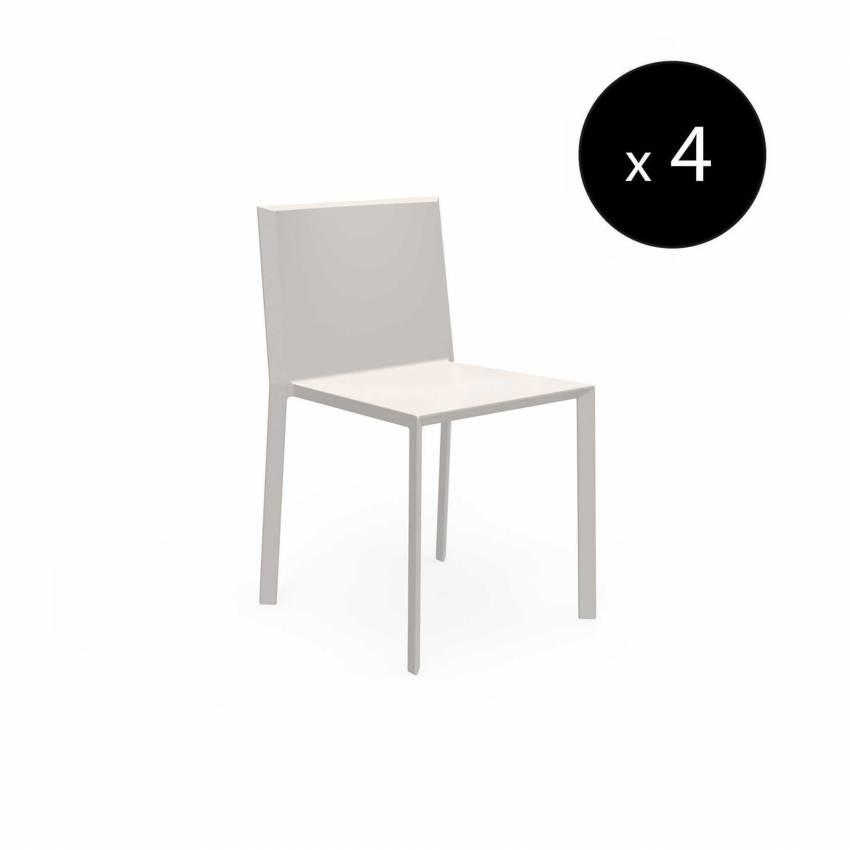 MAUD Lot de 4 Chaises QUARTZ / H. assise 45 cm / Écru