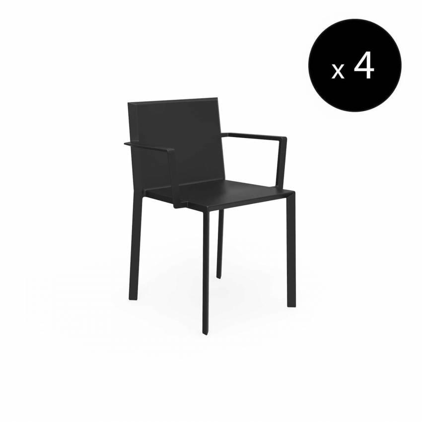 MAUD Lot de 4 Chaises avec accoudoirs QUARTZ / H. assise 45 cm / Noir