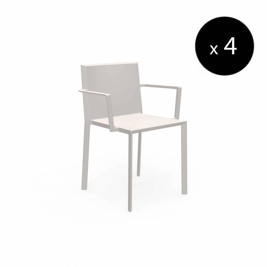MAUD Lot de 4 Chaises avec accoudoirs QUARTZ / H. assise 45 cm / Écru
