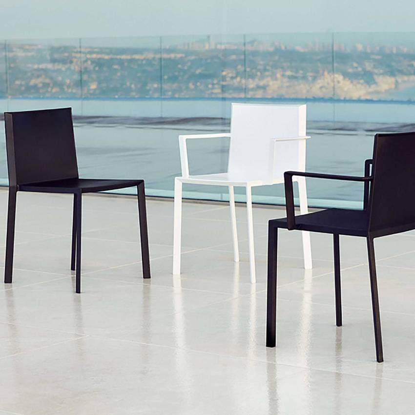MAUD Lot de 4 Chaises avec accoudoirs QUARTZ / H. assise 45 cm / Blanc