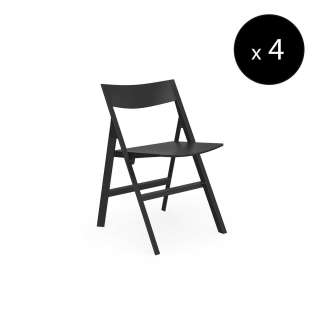 MAUD Lot de 4 Chaises pliantes QUARTZ / H. assise 45 cm / Noir