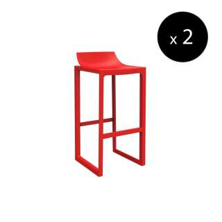 MAUD Lot de 2 Tabourets outdoor WALL STREET / H. assise 76 cm / Rouge