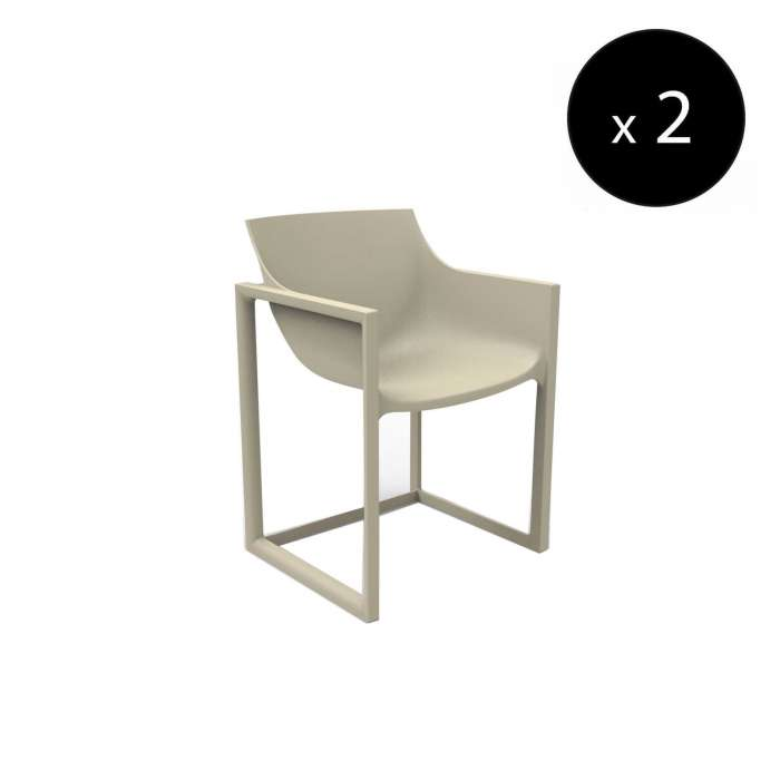 MAUD Lot de 2 Fauteuils outdoor WALL STREET / H. assise 45 cm / Écru