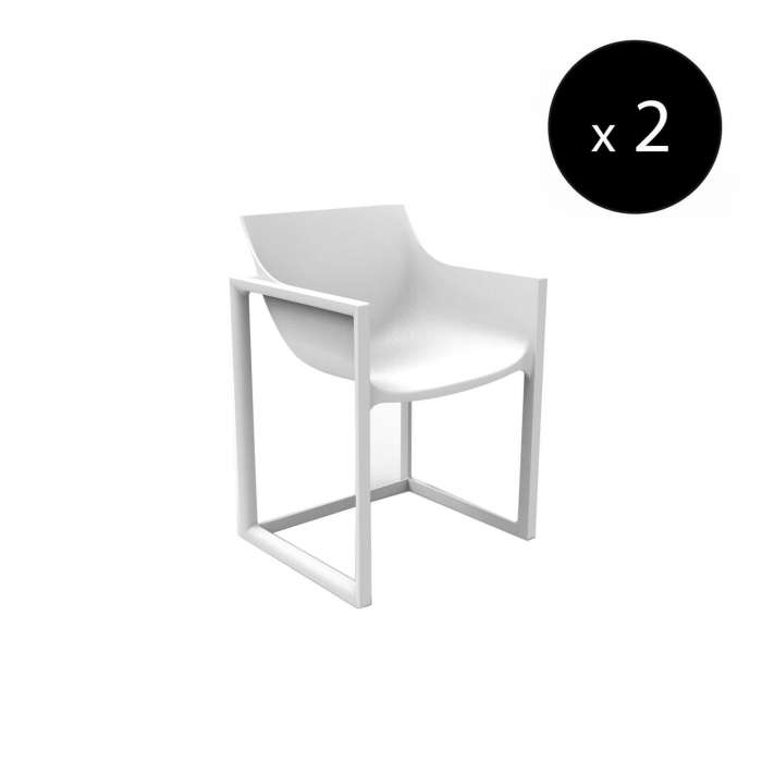 MAUD Lot de 2 Fauteuils outdoor WALL STREET / H. assise 45 cm / Blanc