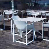 MAUD Lot de 2 Fauteuils outdoor WALL STREET / H. assise 45 cm / Blanc