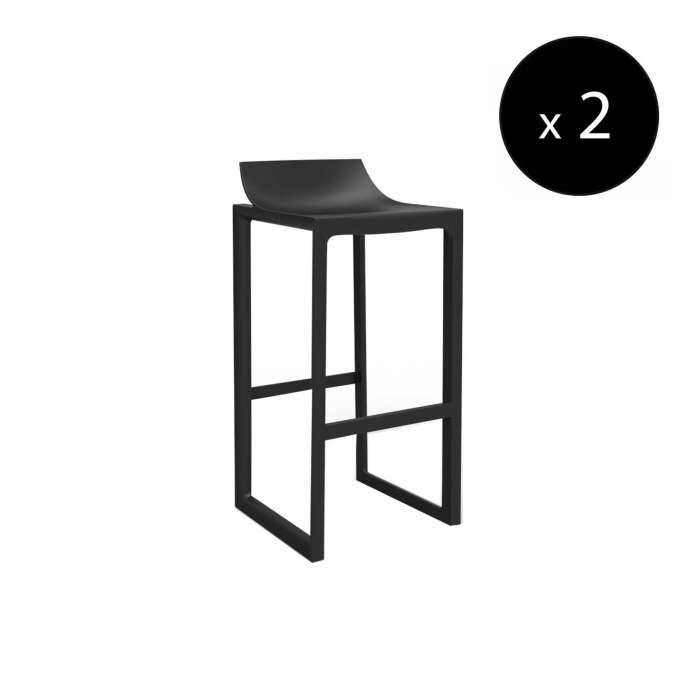 MAUD Lot de 2 Tabourets outdoor WALL STREET / H. assise 76 cm / Noir