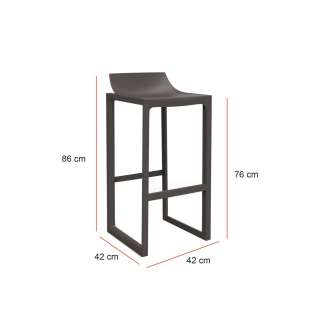 MAUD Lot de 2 Tabourets outdoor WALL STREET / H. assise 76 cm / Marron