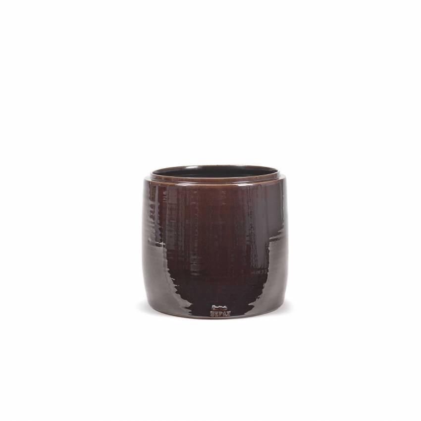 Cache pot de fleurs GLAZED SHADES / 3 dimensions / Marron
