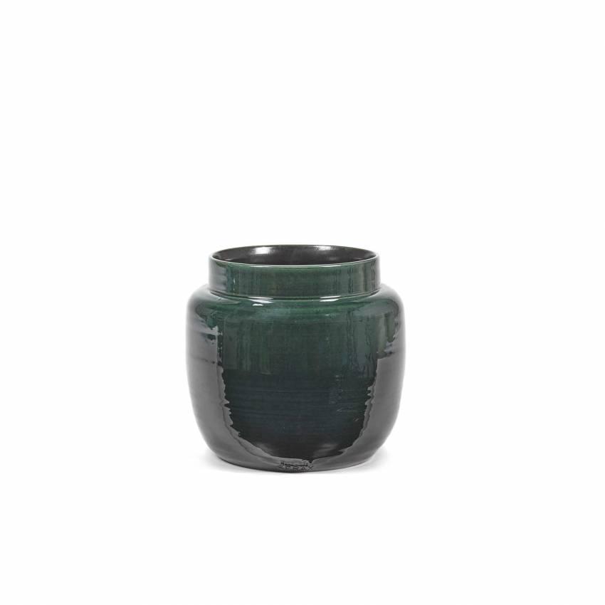 Cache pot de fleurs GLAZED SHADES / 3 dimensions / Vert Foncé