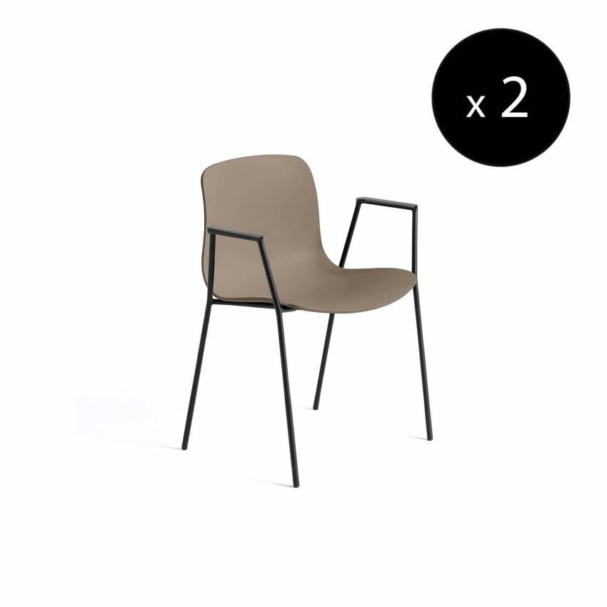 Chaise avec accoudoirs AAC 18 / Kaki et pieds noir