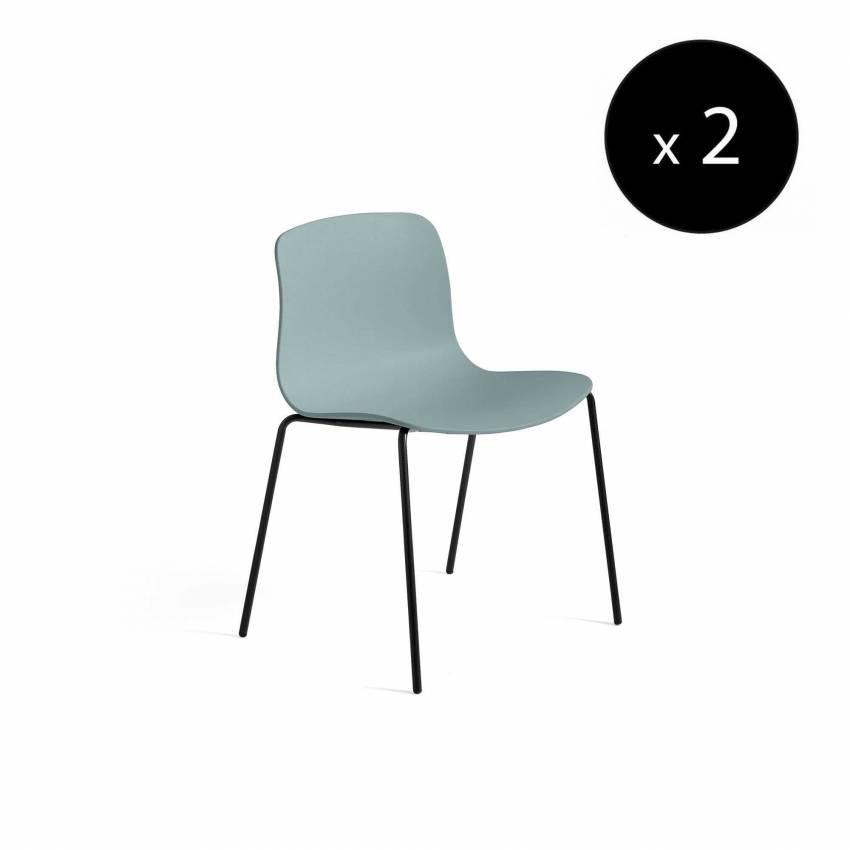HAY / Chaise AAC16 bleu dusty - pieds noir