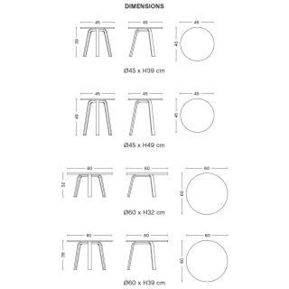 Table basse BELLA / 4 dimensions / Chêne teinté Noir