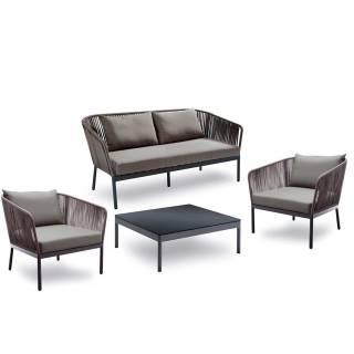 Salon de jardin BERGEN / Canapé 2 ou 3 places, fauteuil et table basse