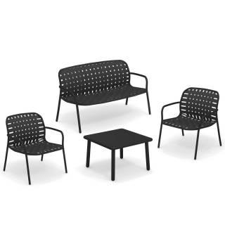 Salon de jardin YARD / 2 Chauffeuses, banc et table basse / Noir