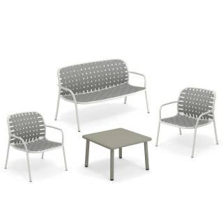 Salon de jardin YARD / 2 Chauffeuses, banc et table basse / Blanc et Gris-Vert