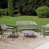 Salon de jardin PRAGA / Ensemble : fauteuil, banc, table basse / Gris
