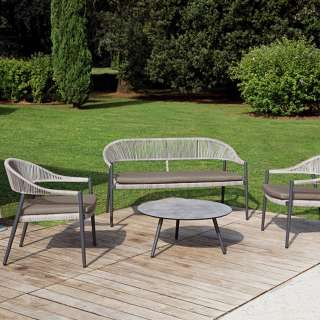 Salon de jardin PRAGA / 2 Fauteuils, banc et table basse / Gris