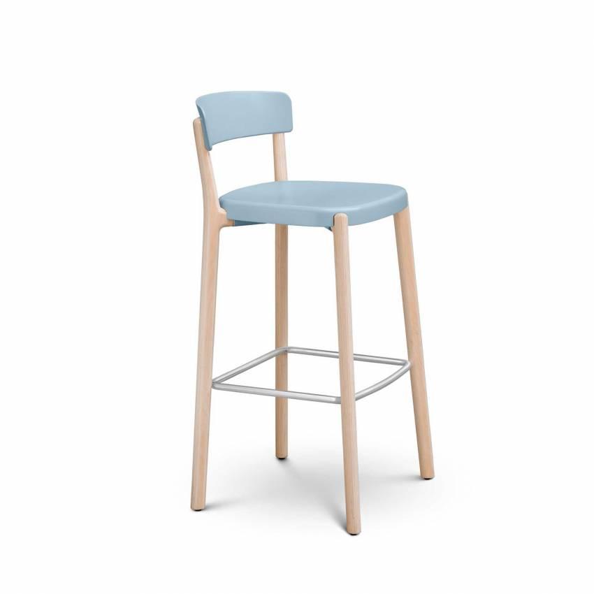 Tabouret NOA / H. assise 66 cm / Bleu Ciel et piètement Bois