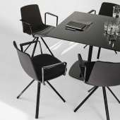 Chaise avec accoudoirs LOTTUS SPIN / H. assise 46 cm / Noir