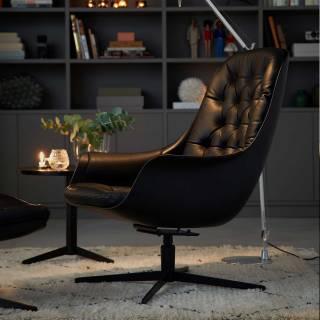 Fauteuil de salon BLACKBIRD / H. 93 cm / Cuir Noir