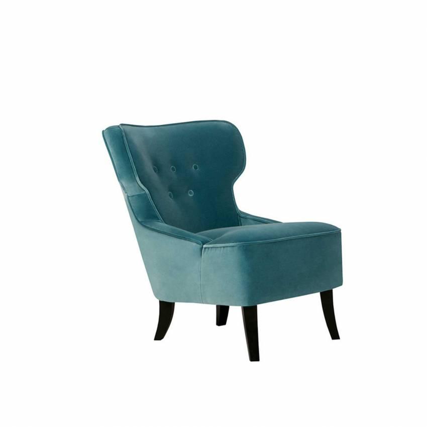 Fauteuil design LISA / H. 79 cm / Velours Turquoise