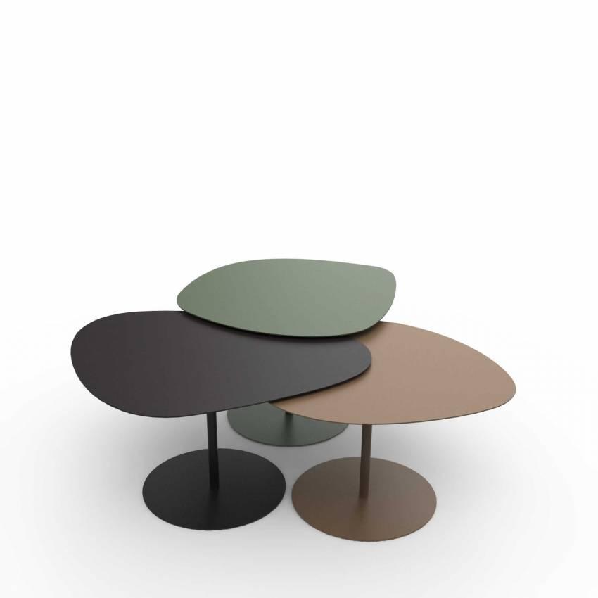 Tables basses GALETS / Extérieur / Kaki, Noir Mat, Sable