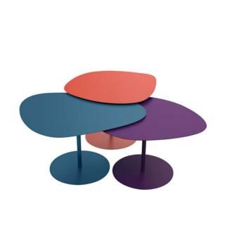 Tables basses GALETS / Extérieur / Mandarine, Denim, Aubergine