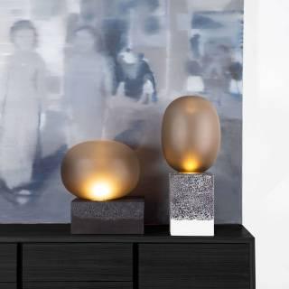 Lampe MAGMA TWO HIGH ovale en verre fumé / Noir / Pulpo