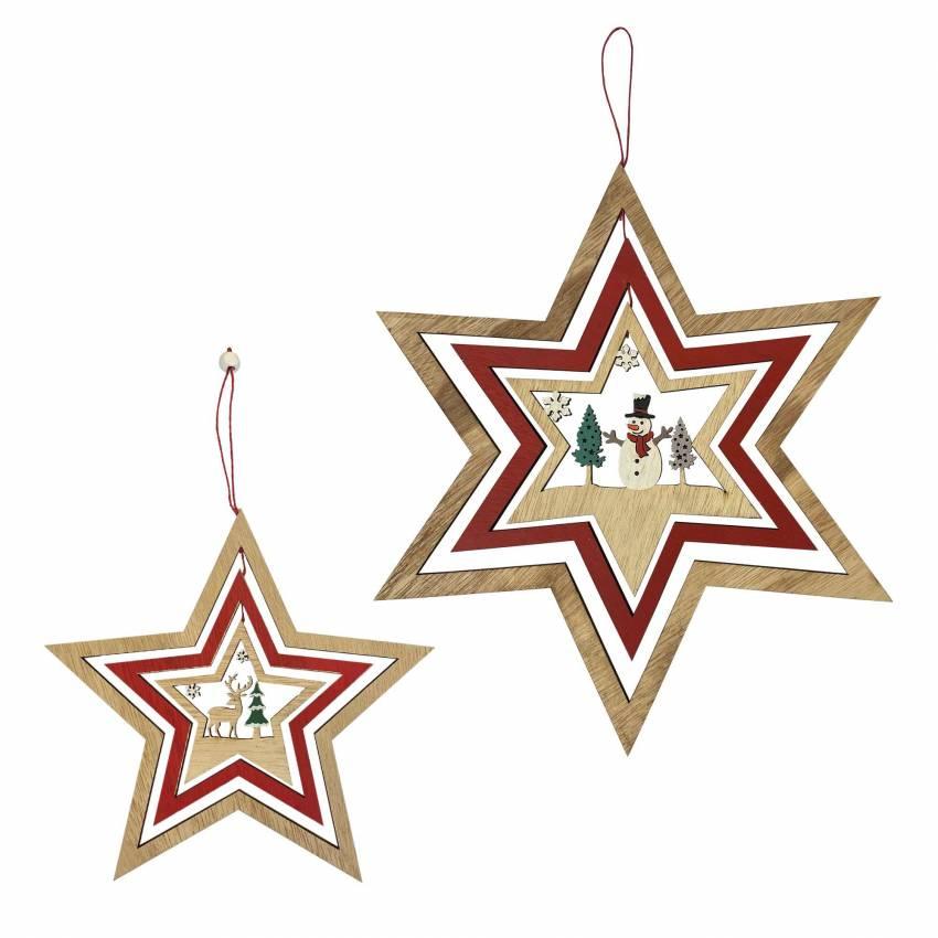 Étoile de Noël à suspendre / Ø. 17 et 25,5 cm / Bois
