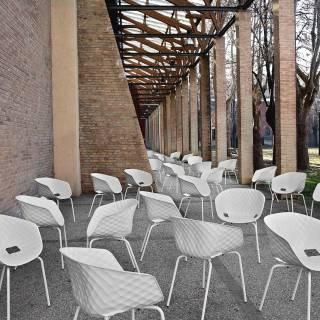 Fauteuil UNI-KA 594 / H. assise 47 cm / Blanc - Piètement Blanc