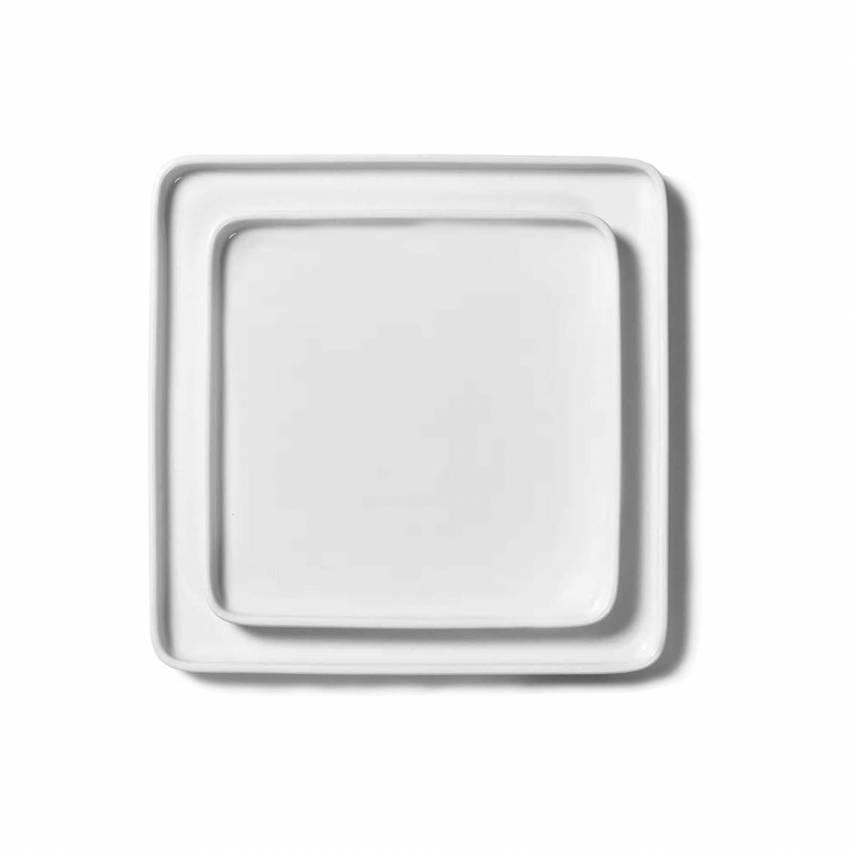 Lot Assiettes carrées HEII / L. 20 cm-24 cm / Porcelaine Blanche