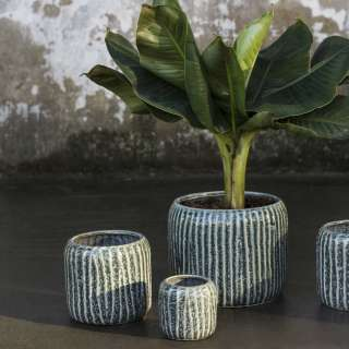 Cache-pot en céramique COTE - Fleurs / Bleu / Serax