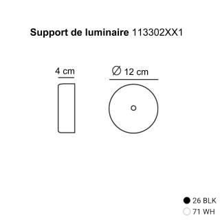 Support de luminaire / Ø 12 cm / Blanc - Noir / Estiluz