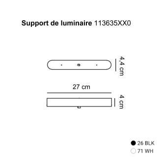 Support de luminaire / L. 27 cm / Blanc-Noir / Estiluz