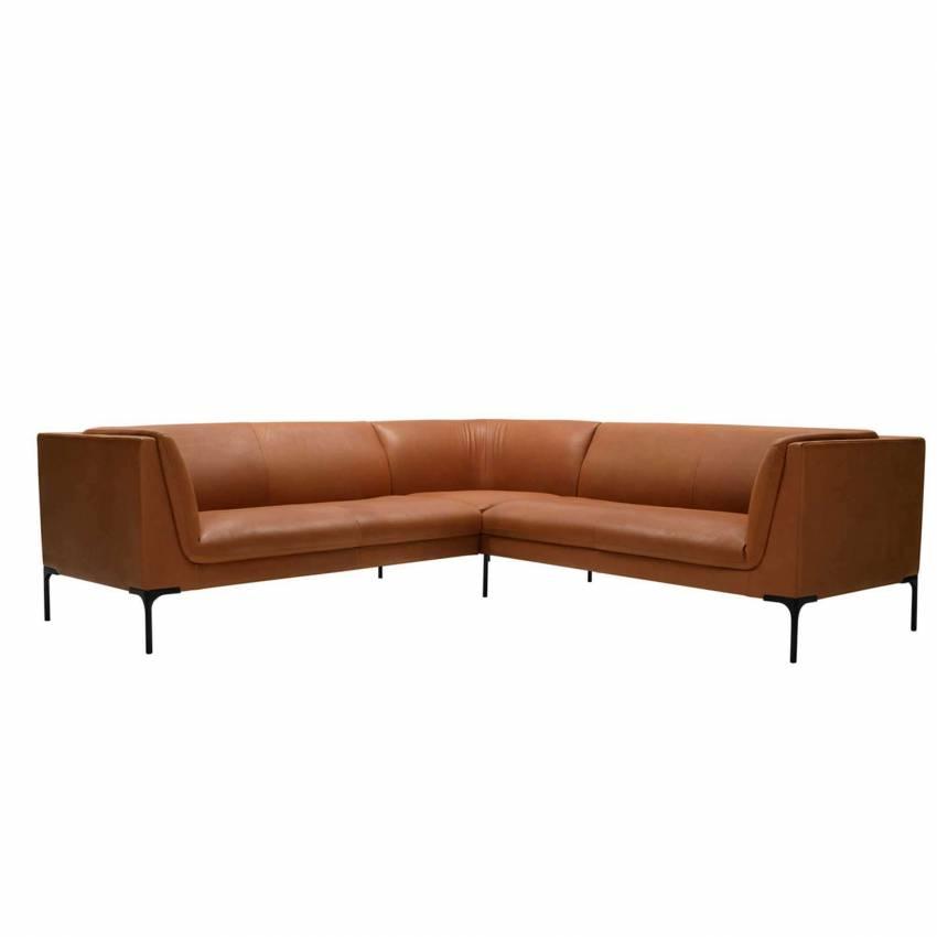 Canapé d'angle FREJ - Canapé en cuir / Cognac / Sits