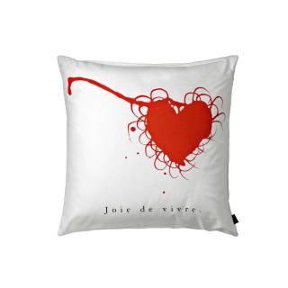 Coussin en coton JOIE DE VIVRE / Blanc, Noir & Rouge