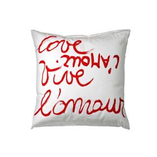 Coussin en coton VIVE L'AMOUR / Blanc & Rouge