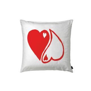 Coussin décoratif YING-YANG / Coton Blanc / 50 x 50 cm