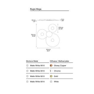 Plafonnier LED BUGIA MEGA / 4 coloris / Lodes