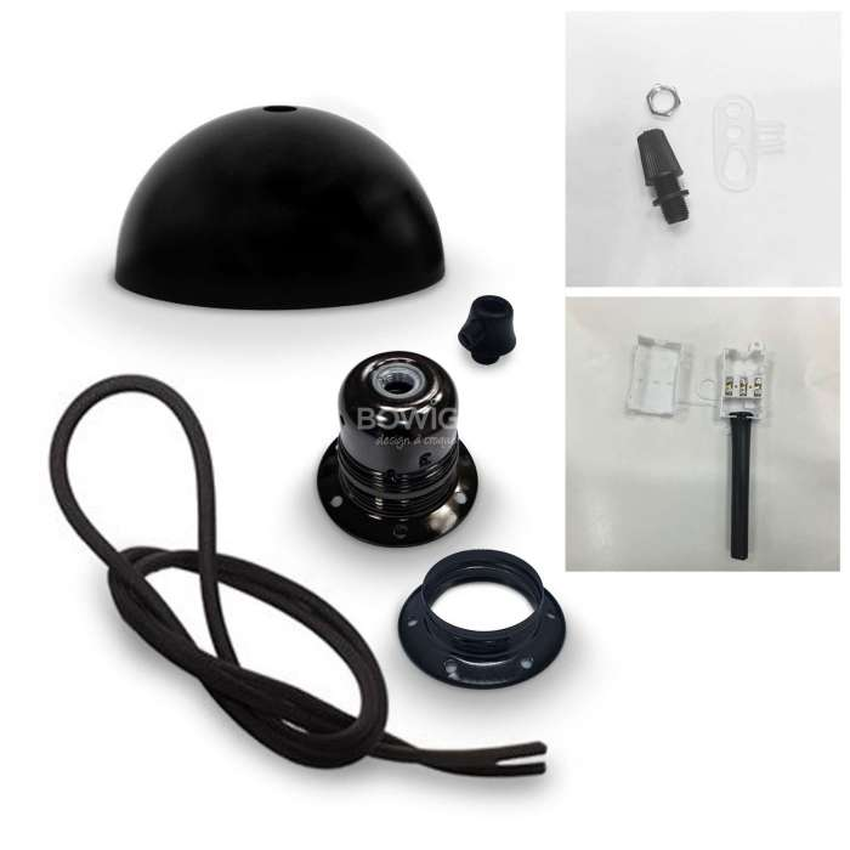 Kit fils électrique tissu noir 3x0,75 mm2 + Douille E27 + Dôme