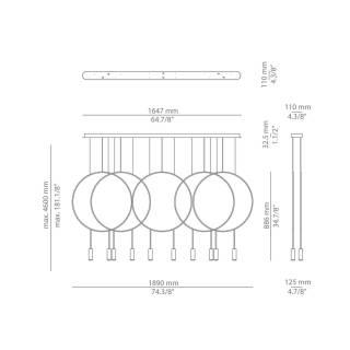 Lustre REVOLTA - 10 LED / Métal Noir / Estiluz