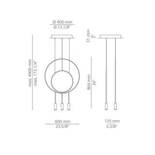 Lustre suspension REVOLTA - 3 LED / Noir / Estiluz