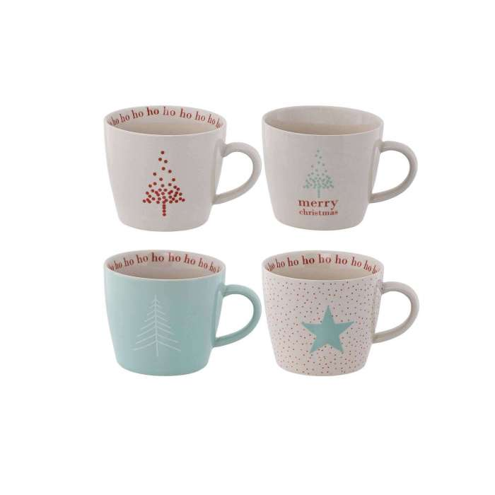 Lot de 4 tasses Christmas en porcelaine - Bloomingville