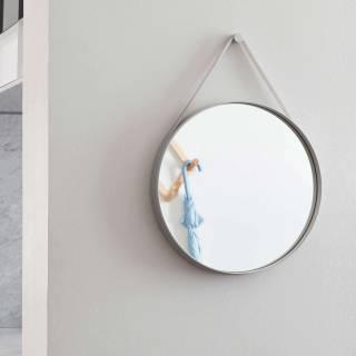 Miroir mural STRAP by Hay / Ø 50 cm - Bandeau gris