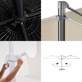 Parasol design d'extérieur FLEX / 300 x 300 cm / Taupe