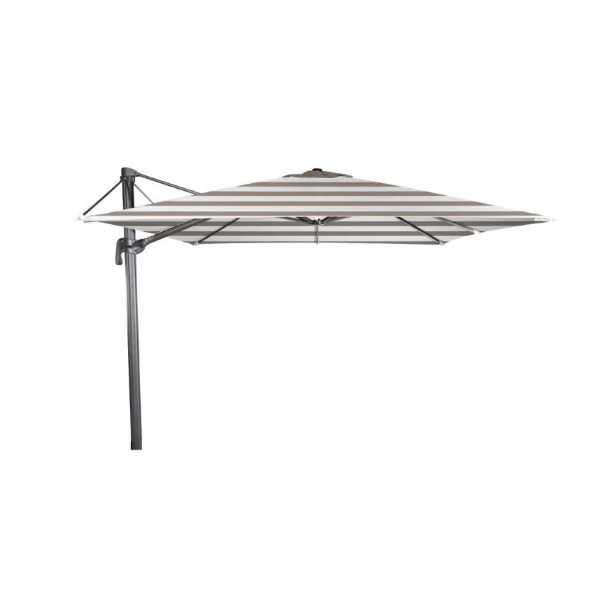 Grand parasol de jardin déporté FLEX / Rayure Taupe