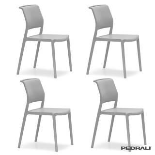 4 Chaises ARA 310 - Int ou Ext / Gris Clair / Pedrali