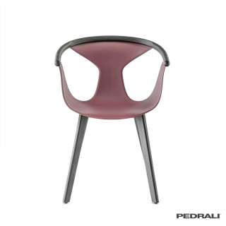 Chaise design FOX 3725 / Bourgogne-Frêne Noir / Pedrali