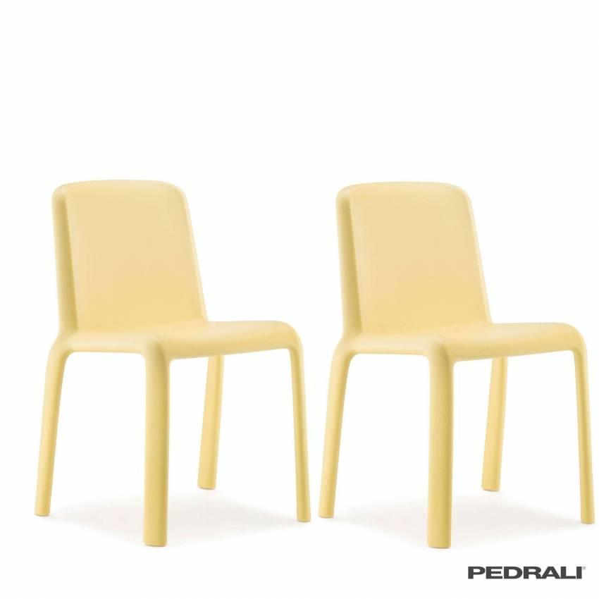 Chaise design SNOW 303 - Vendue par 4 / Jaune / Pedrali