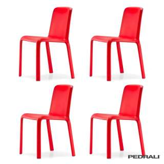 Chaise design SNOW 300 / Int-Ext / Rouge / Pedrali
